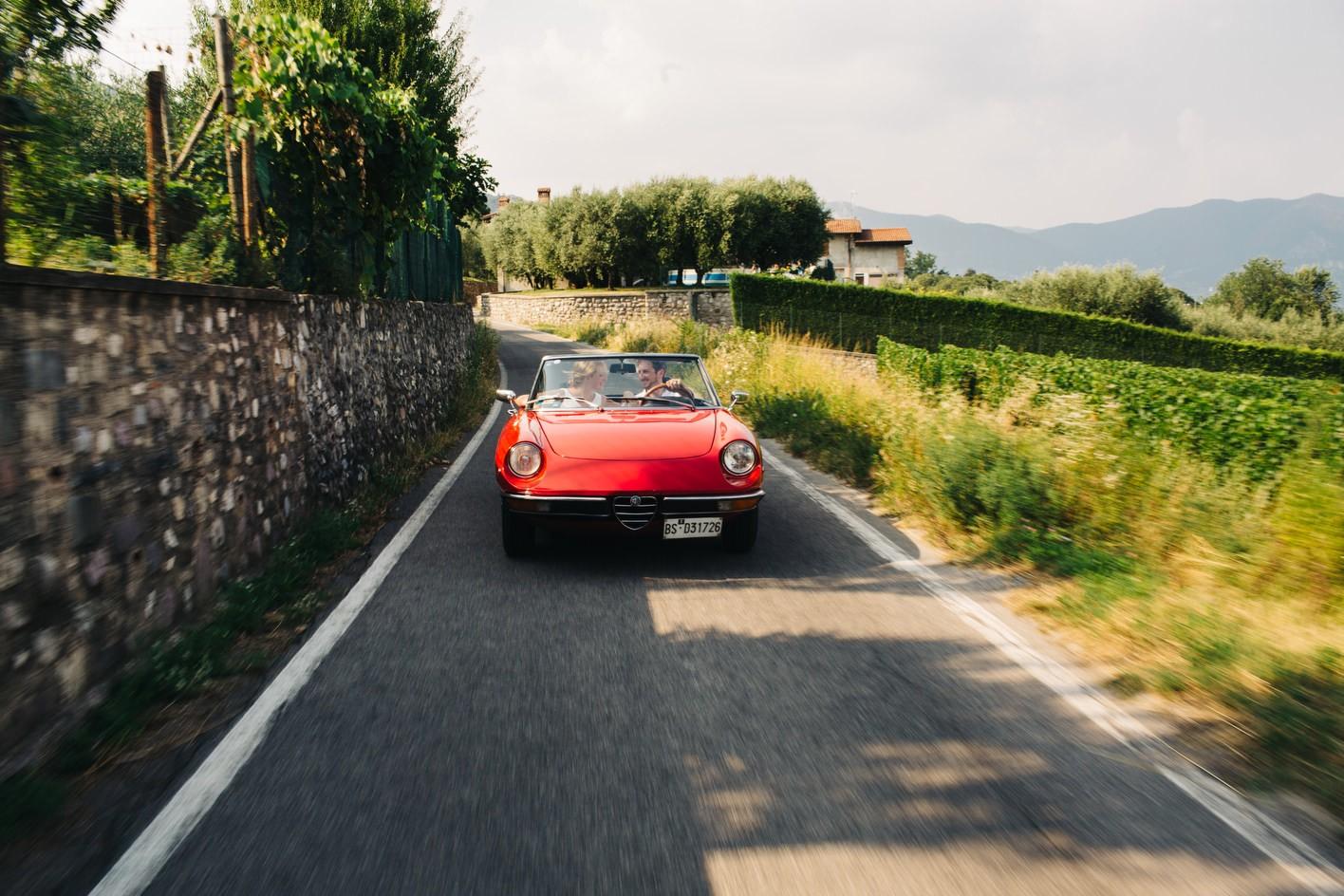 Italy destination wedding with vintage car