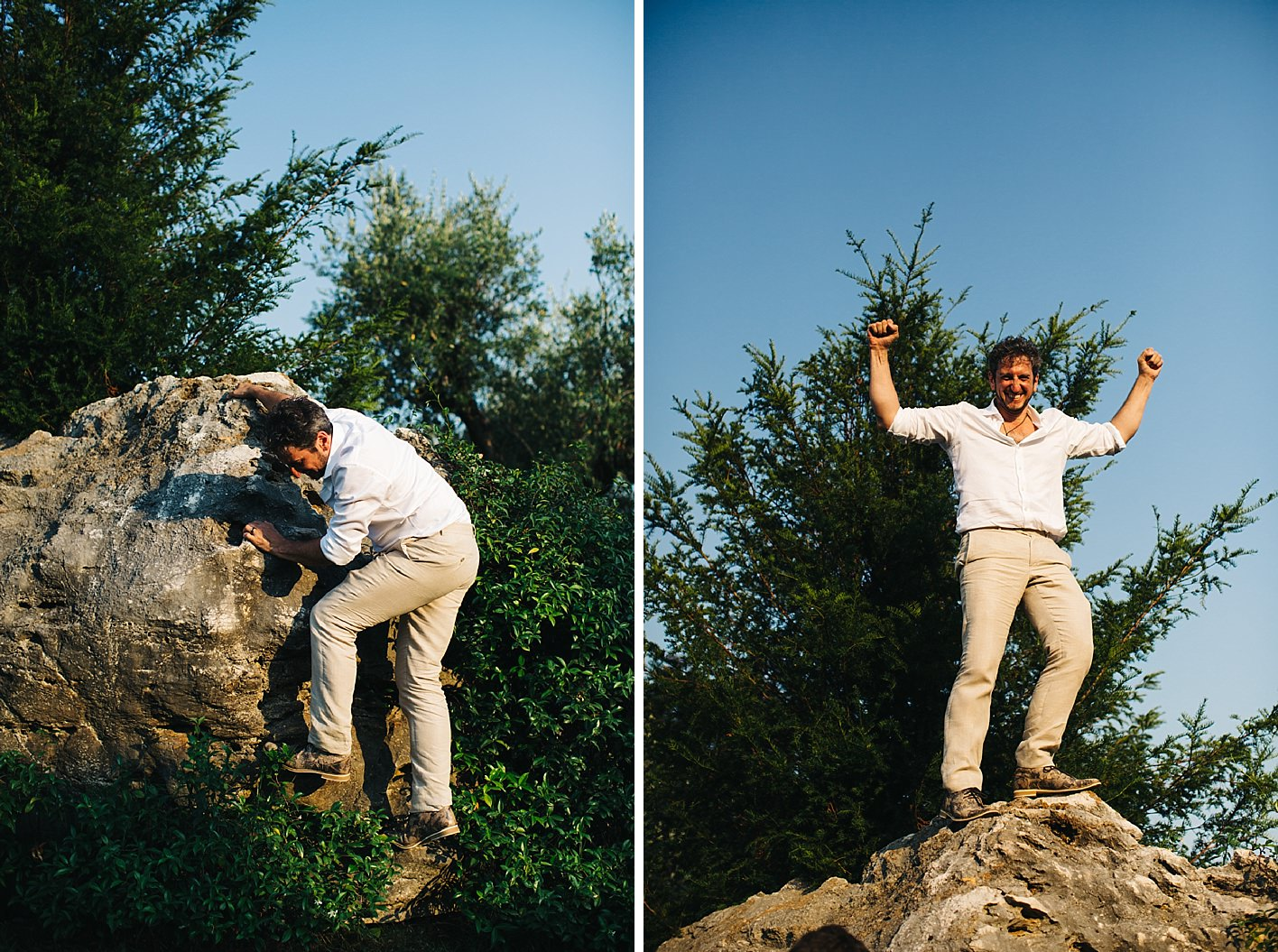 Groom climbing large bolder at wedding