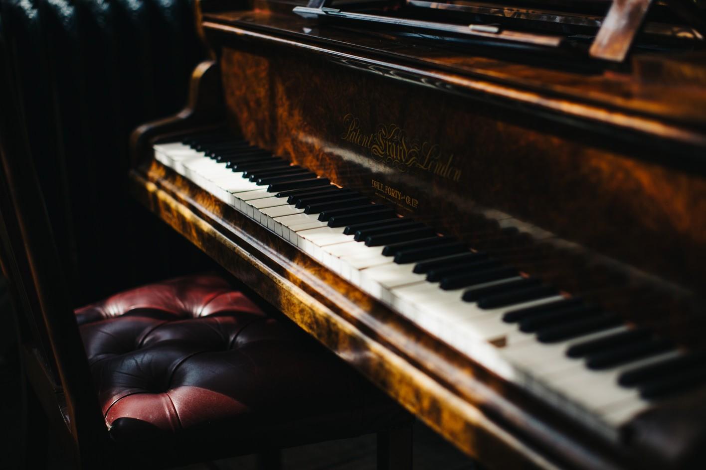 Vintage piano at wedding venue