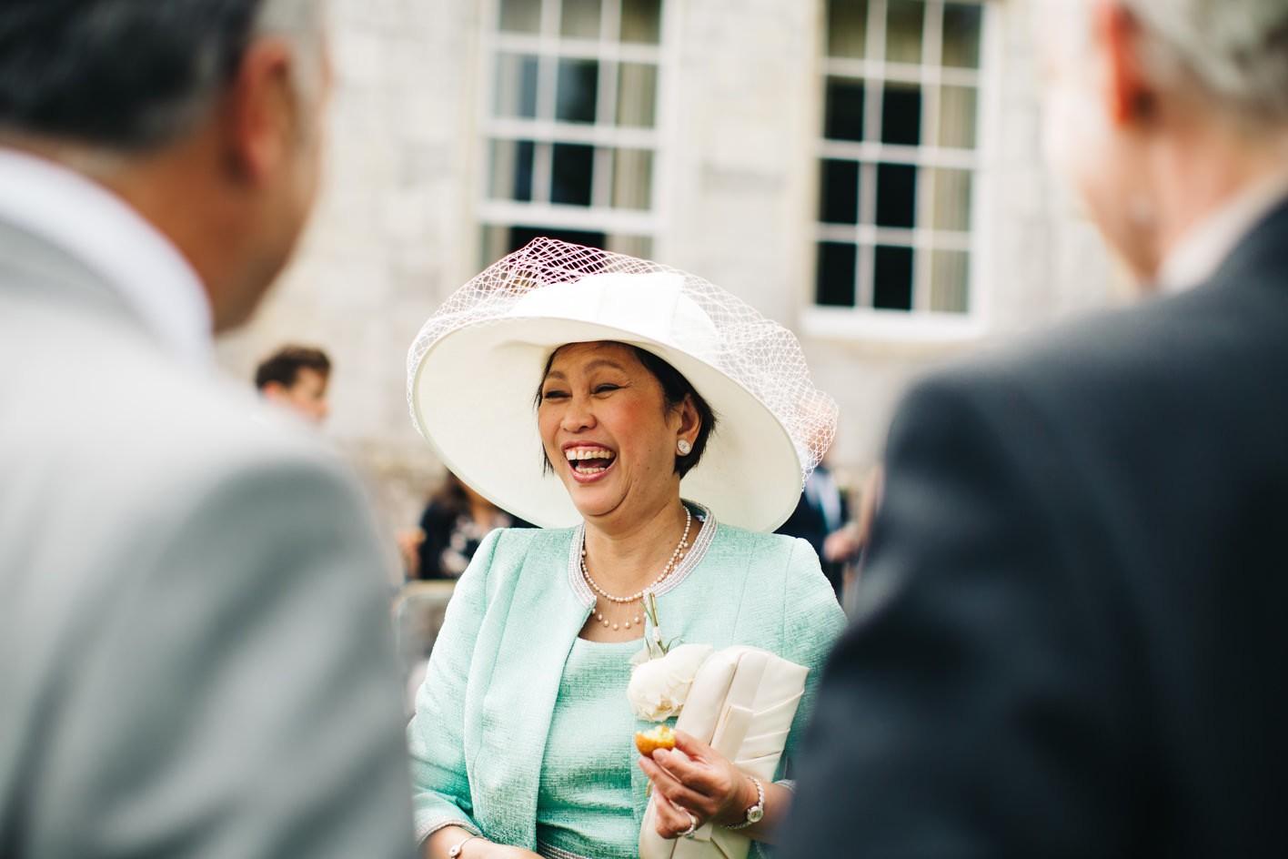 mother of bride laughnig