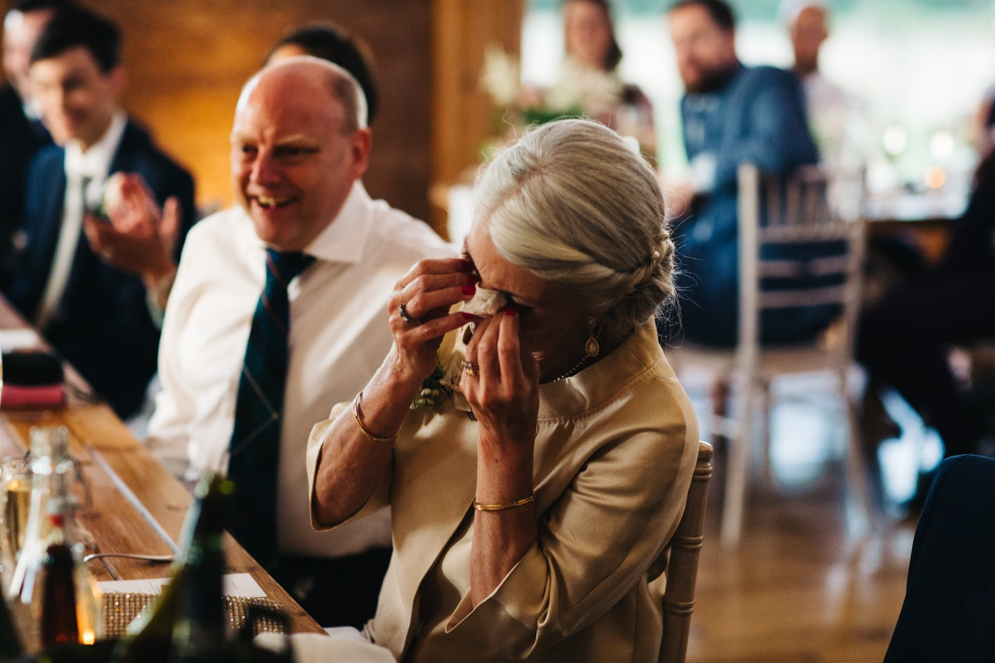 mother of groom crying during speeches