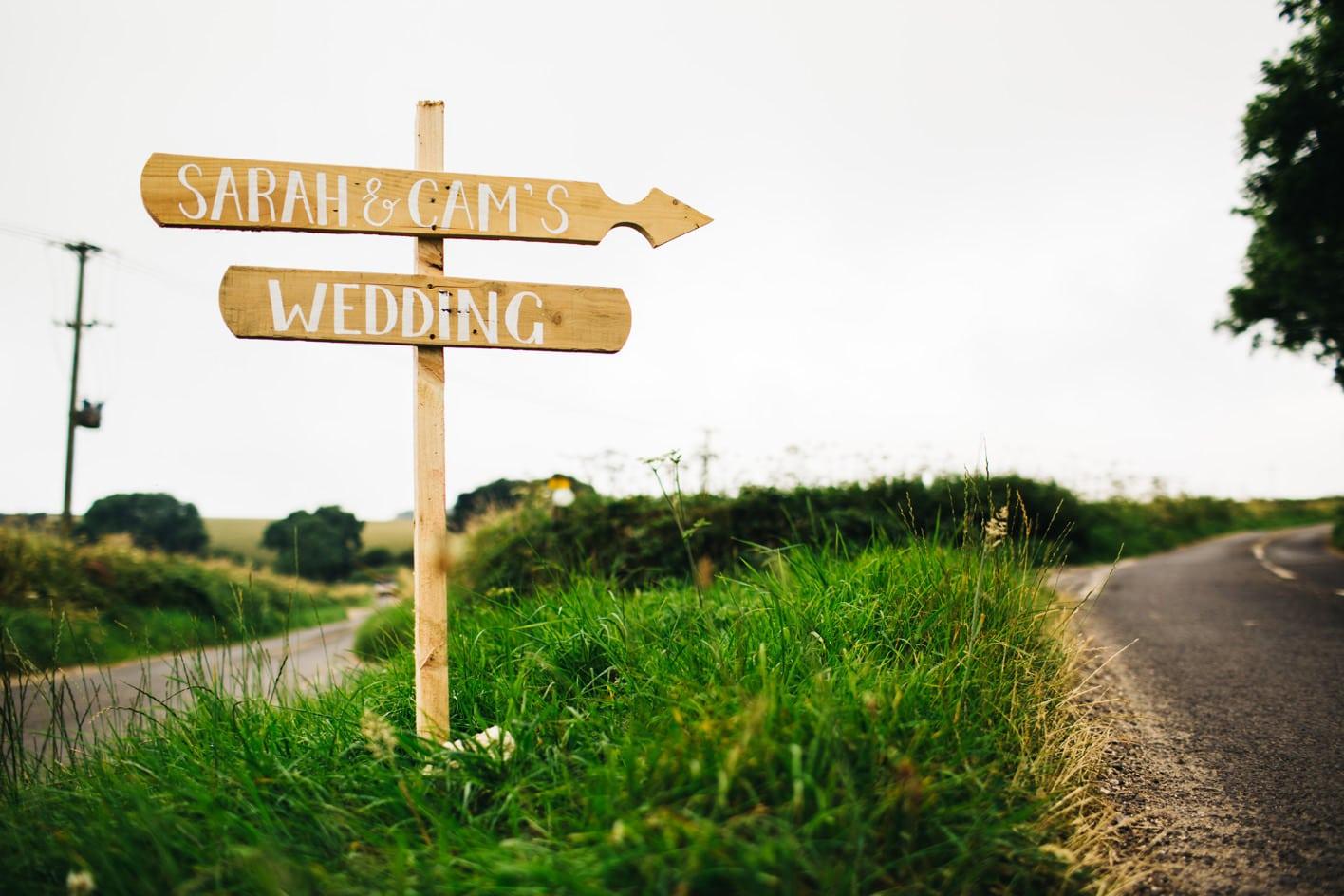 Handmade wooden wedding sign