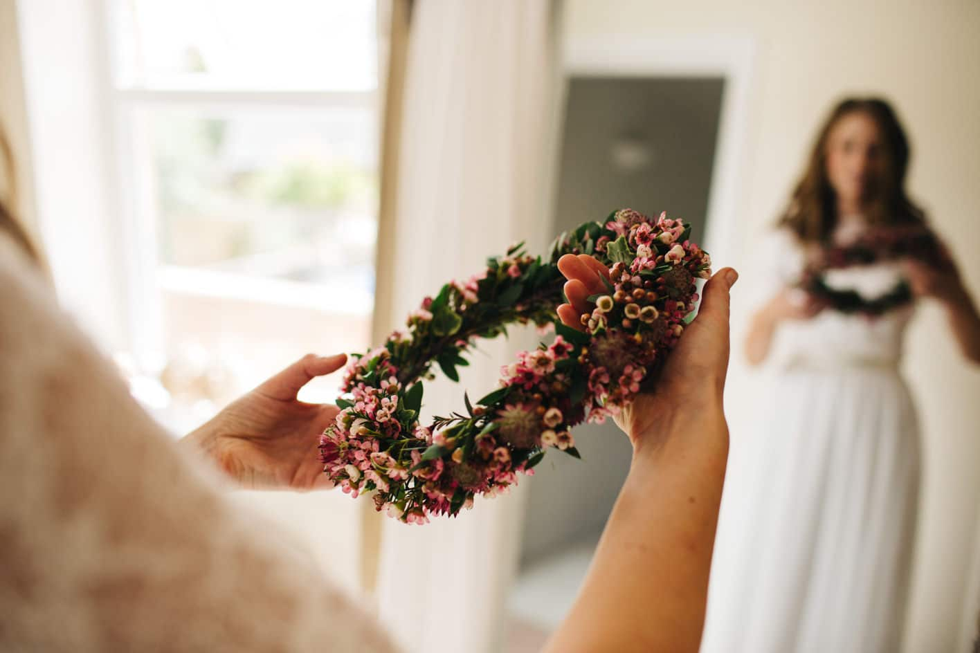 Floral crown by West Dorset Wedding Flowers