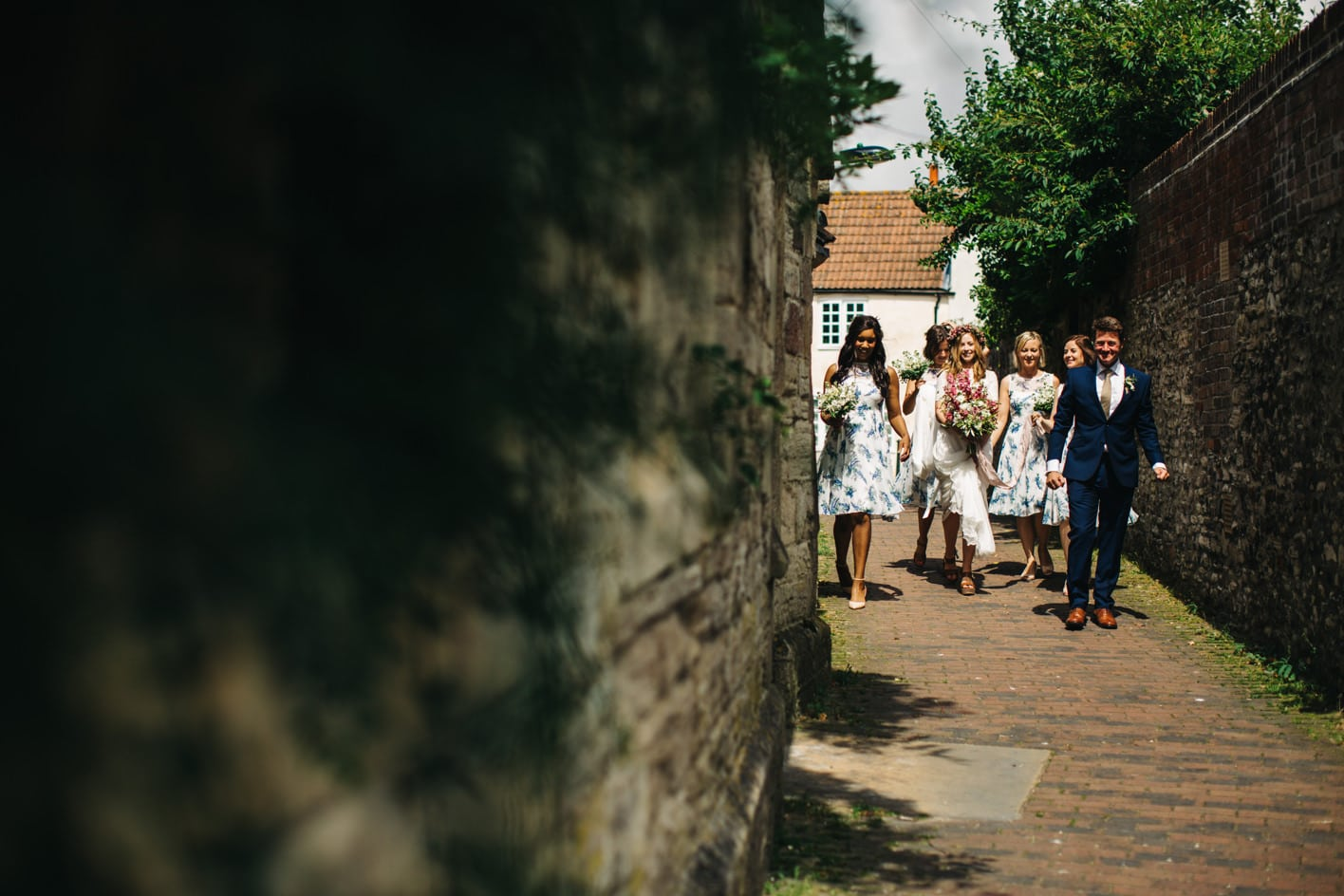 bridal party arriving to church