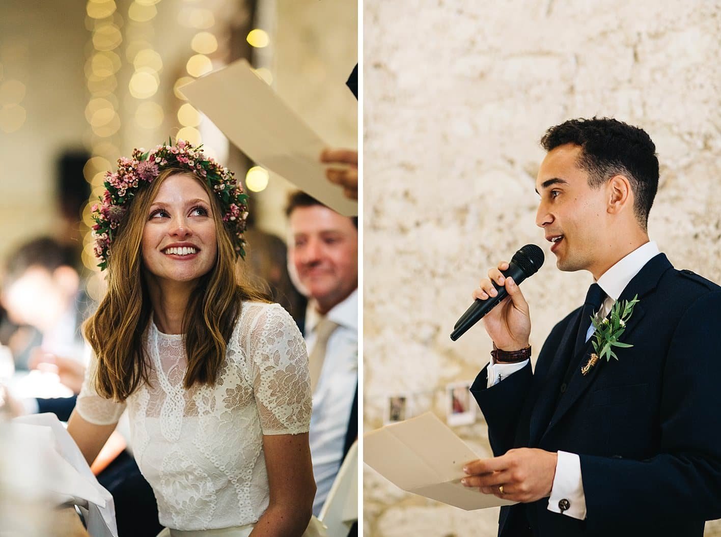 bride looking at groom during speech