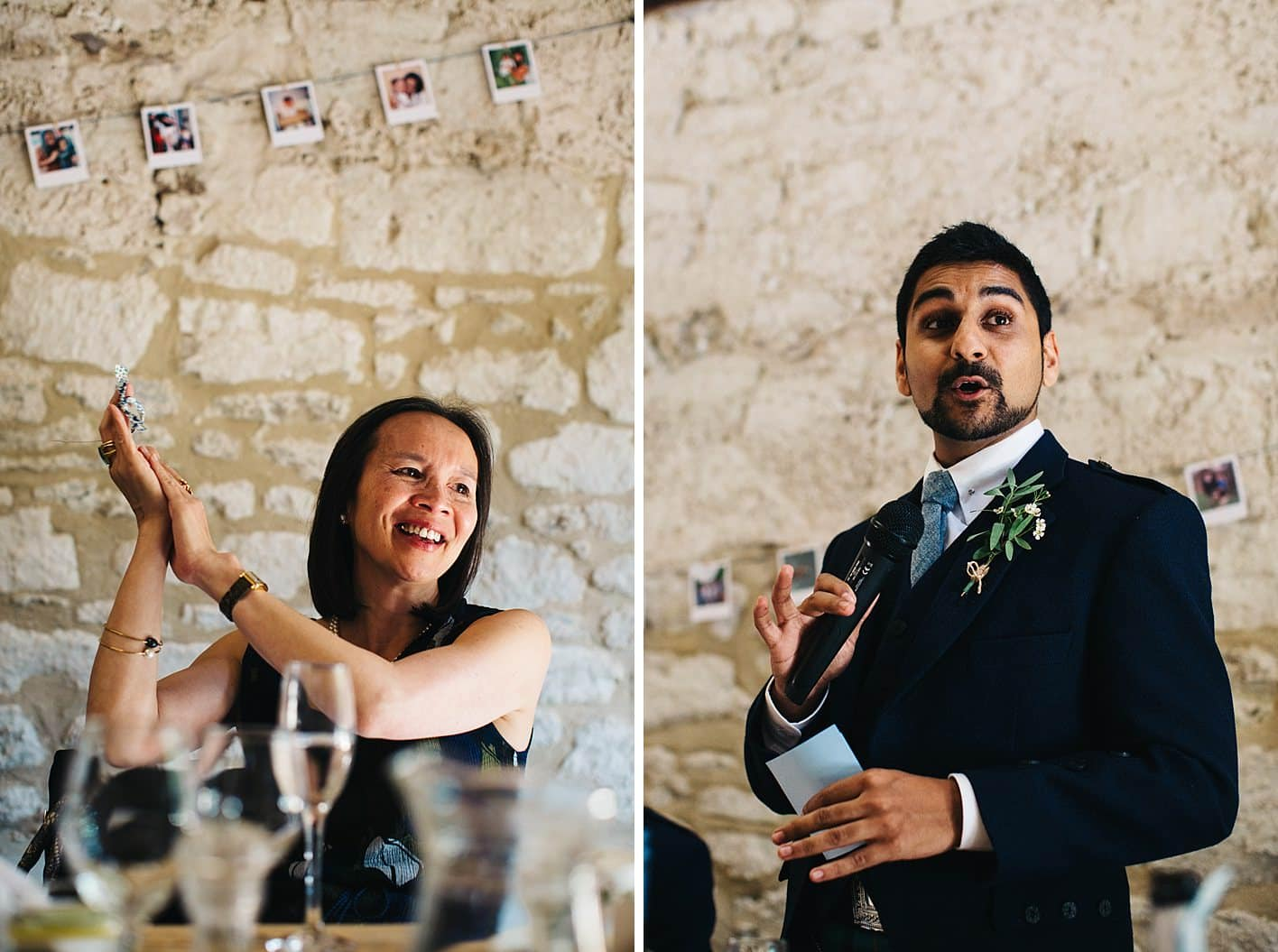 mother of groom clapping during speeches