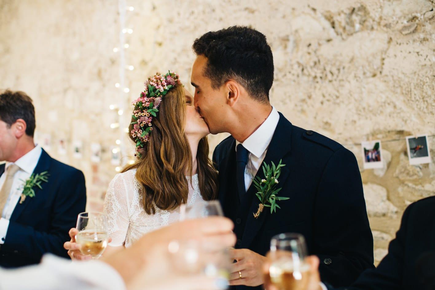 newly weds kiss