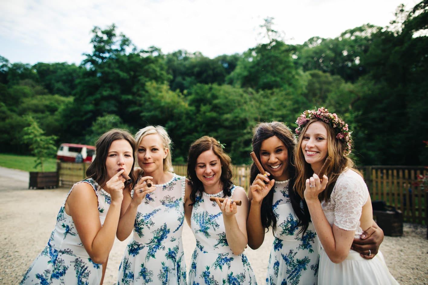 bridesmaids smoking cigars