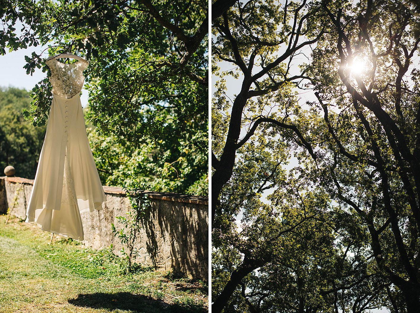 rime arodaky wedding dress hanging from tree