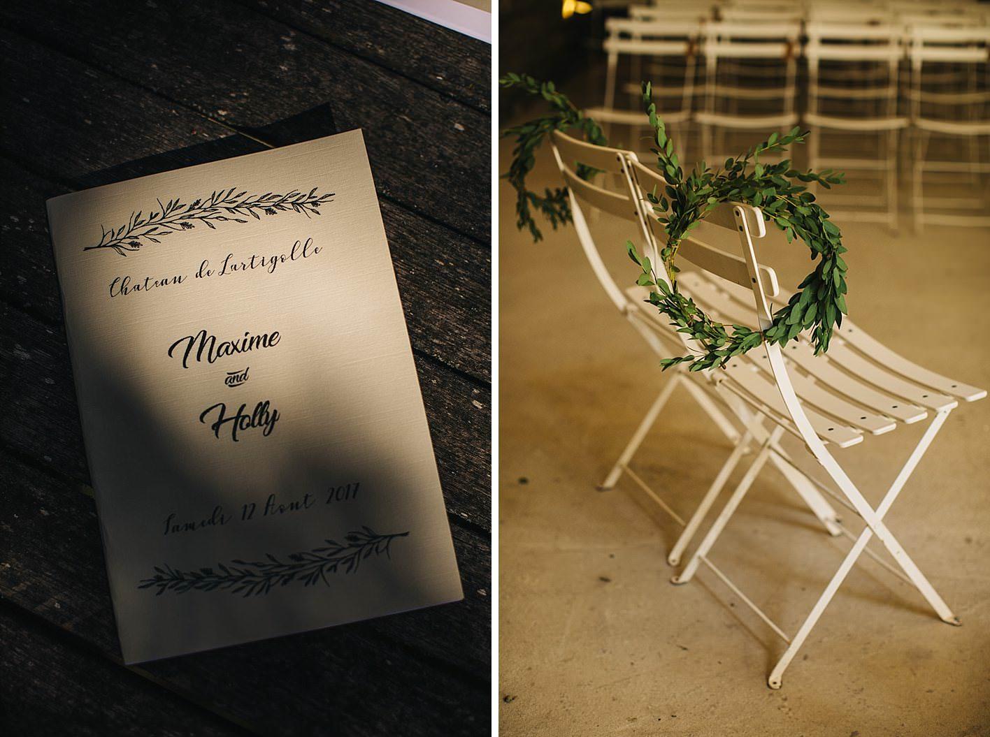 ceremony details at chateau de lartigolle