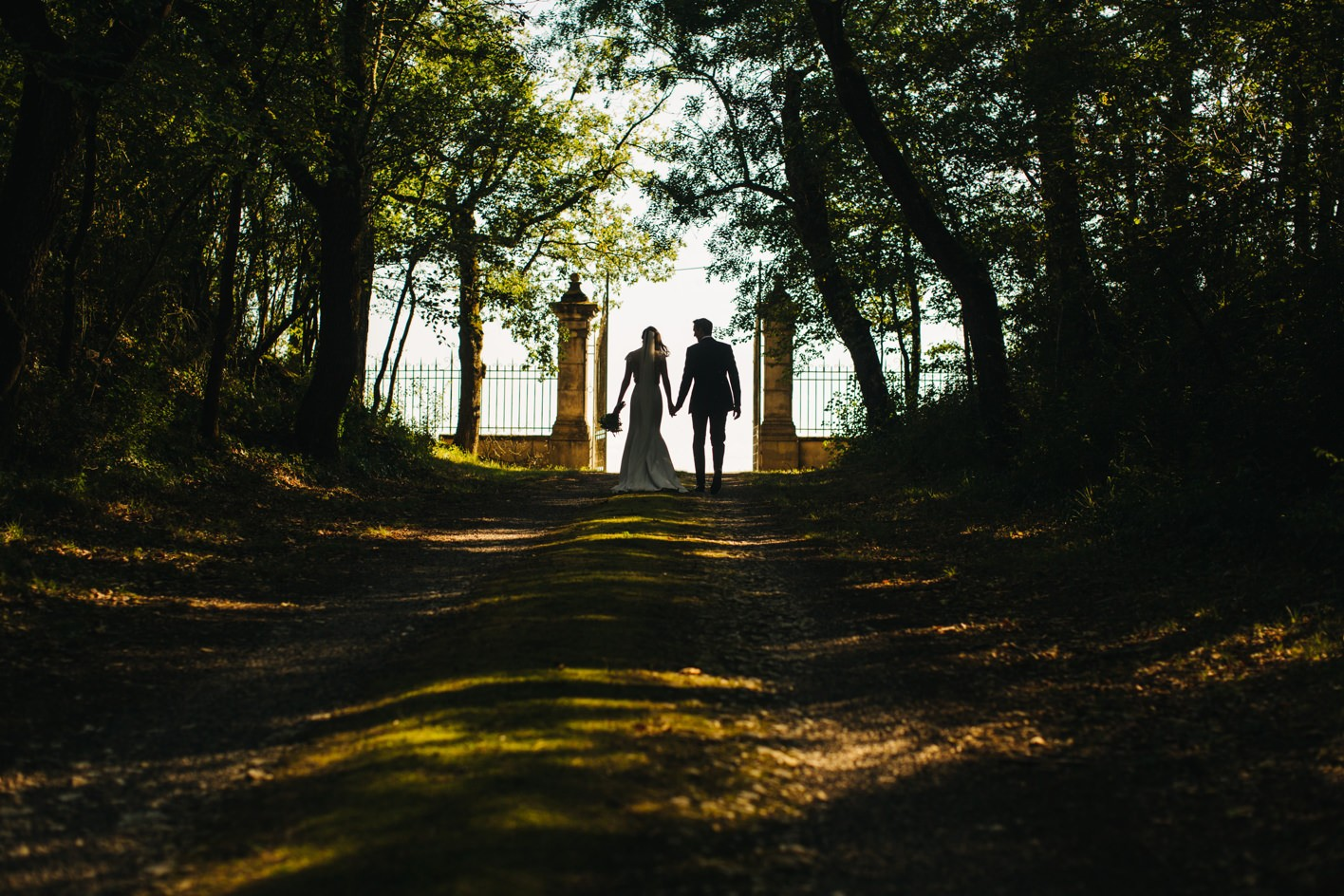 silhouette of newly weds