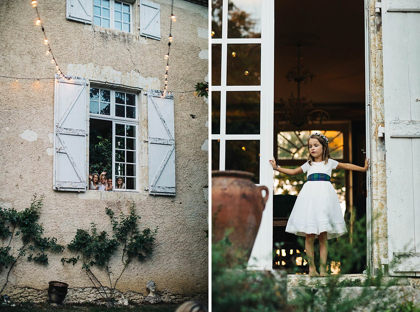 kids at french chateau wedding