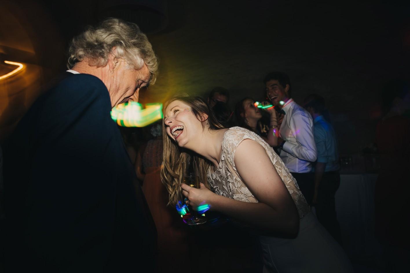 laughing bride at wedding