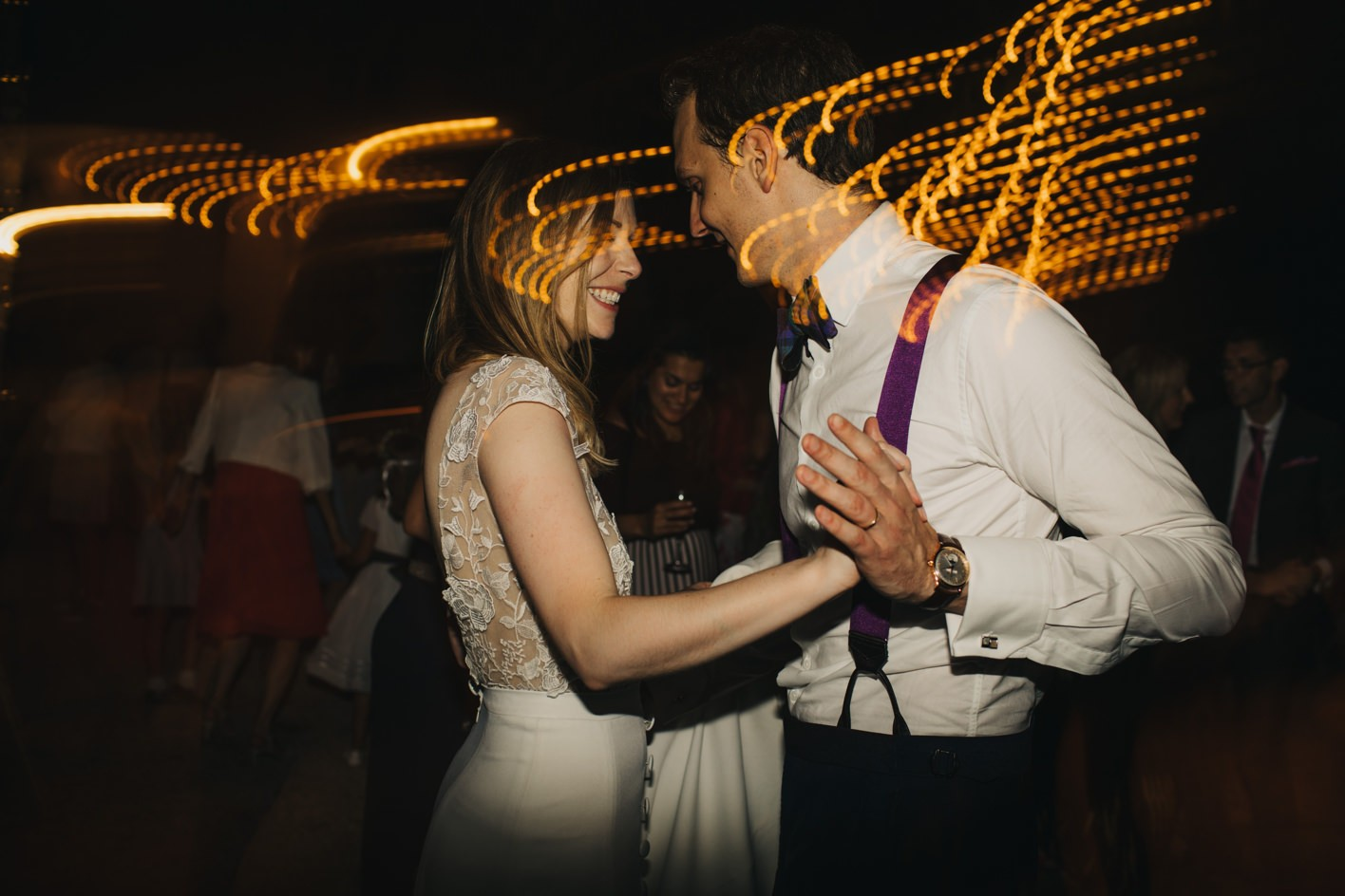 bride and groom on dancefloor at french wedding