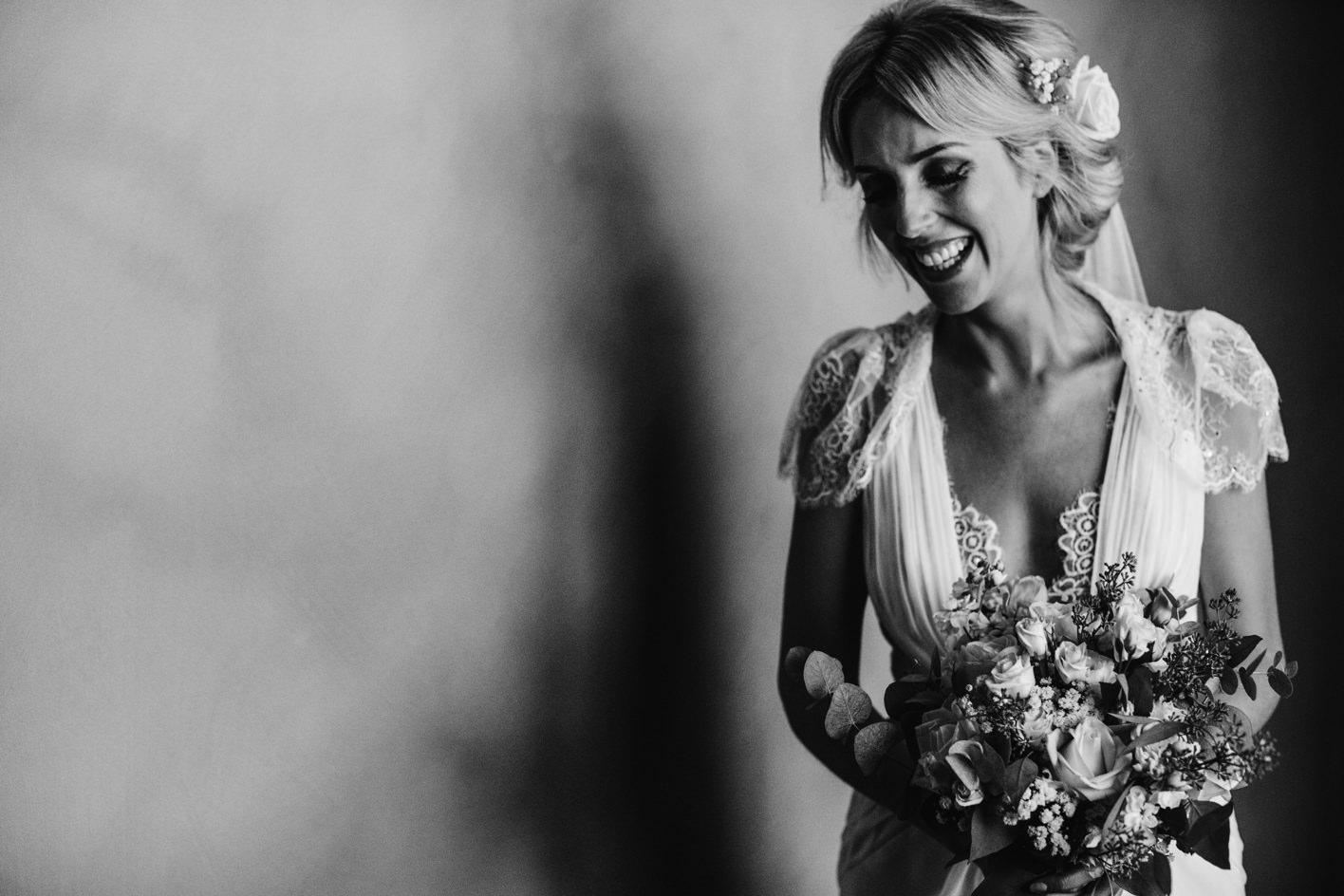 black and white portrait of bride