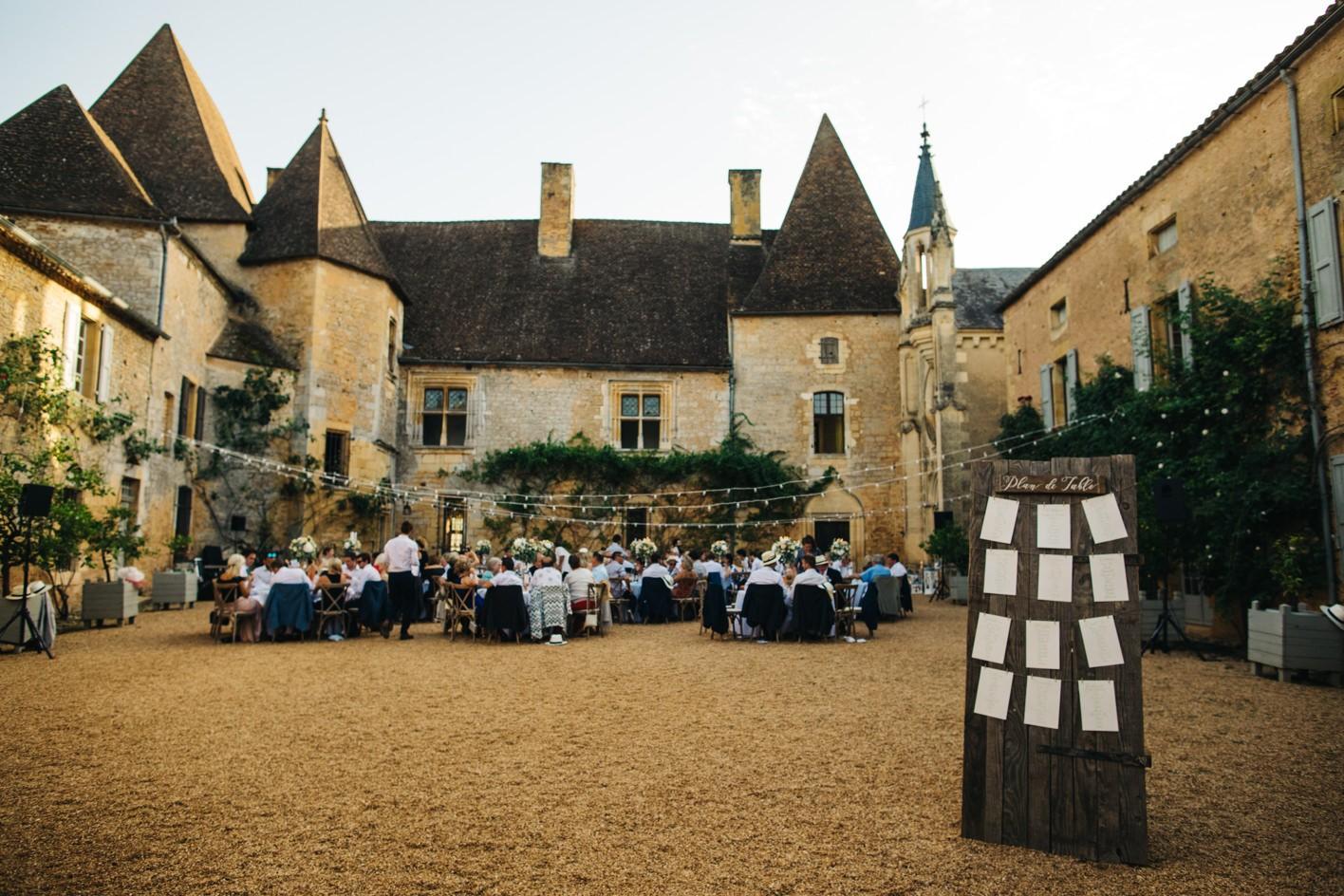 chateau courtyard wedding reception