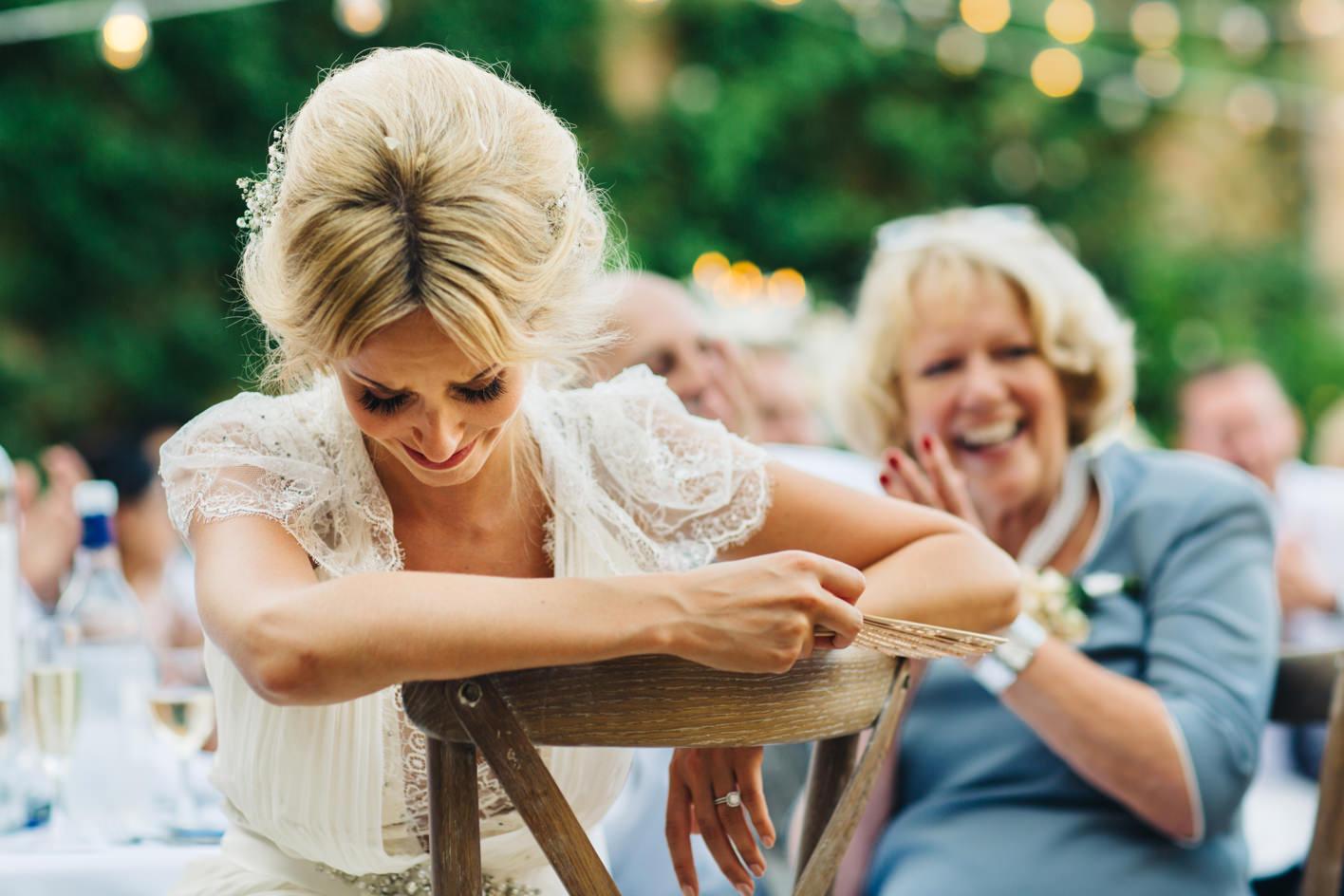 bride cries during grooms speech