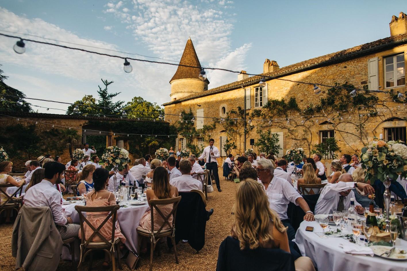chateau de la bourlie courtyard reception