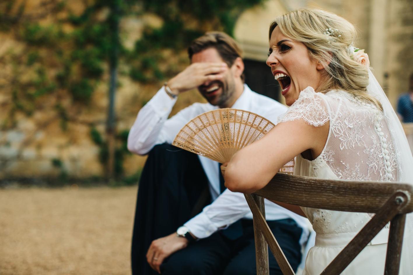 grooms reaction during best man speech