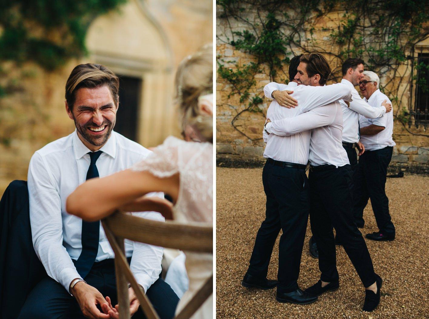 groom hugs best men