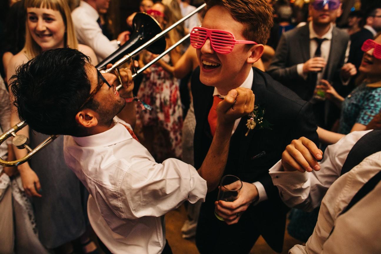 band kick off wedding party