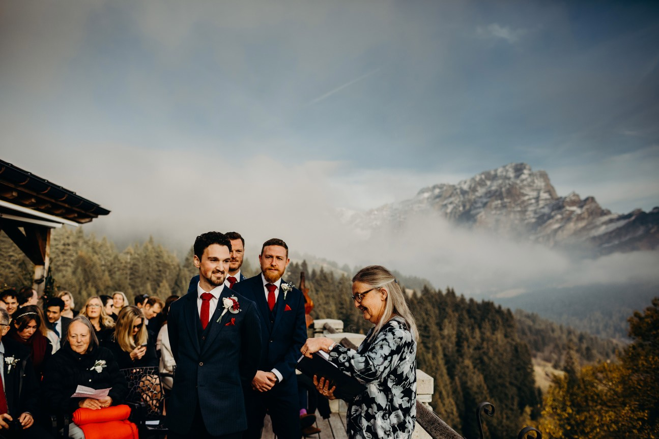 groom with Chaux Ronde in background