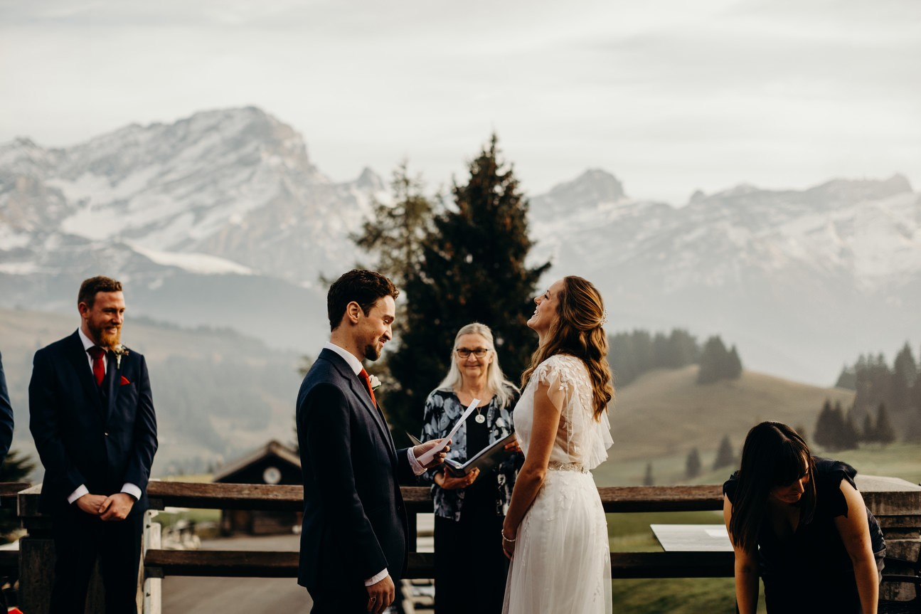 outdoor ceremony with mountains in background