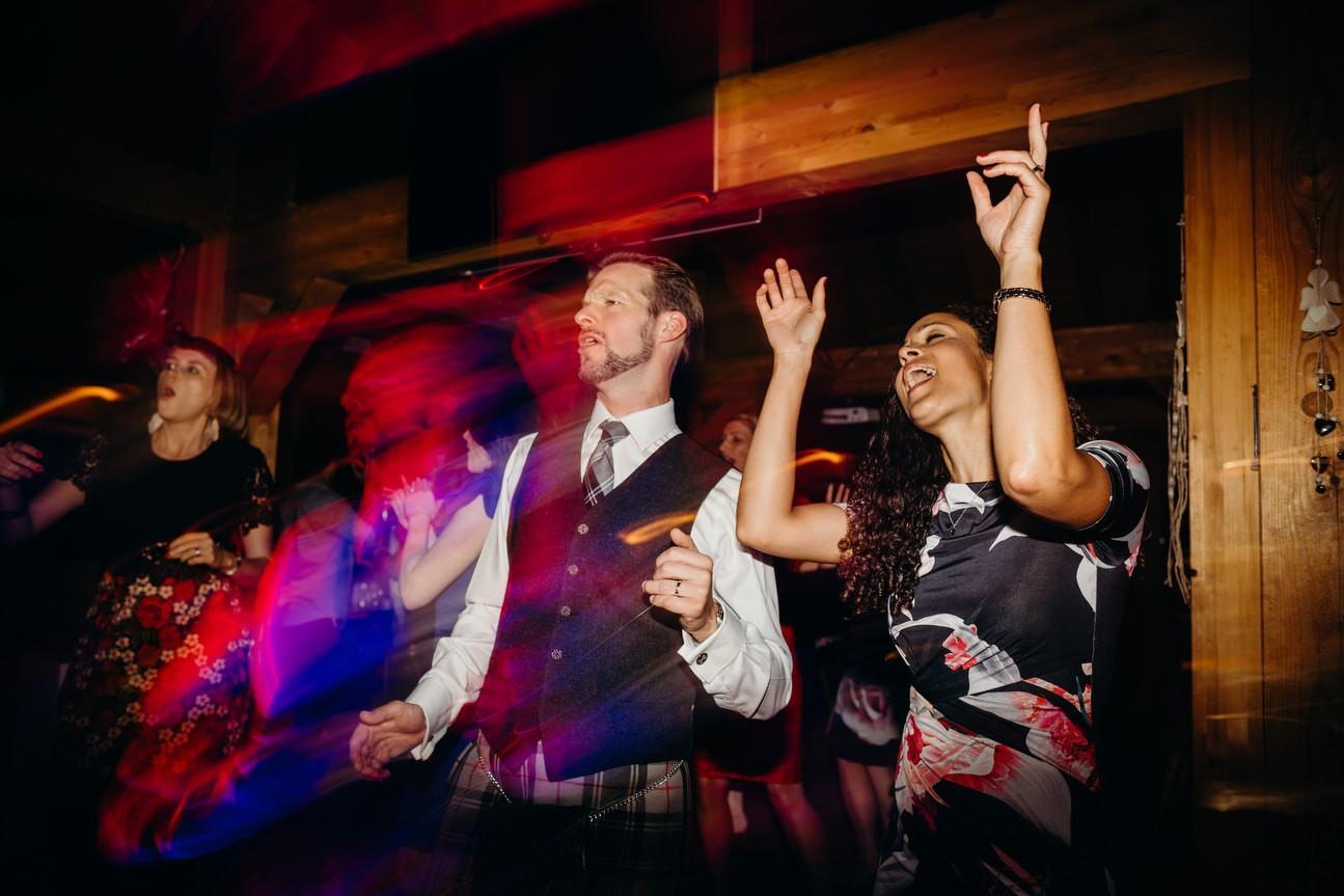 guests dancing at Swiss alps wedding