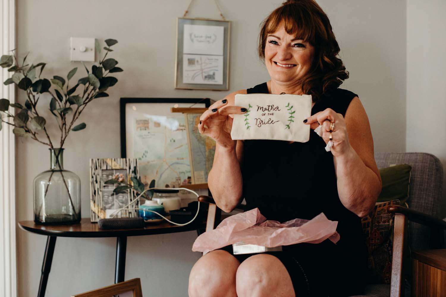 Mother of bride opening a wedding gift