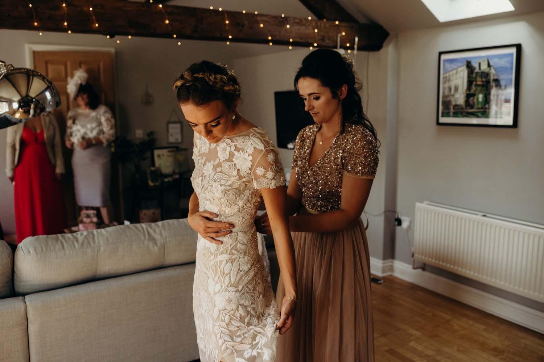 Bride wearing a Hermione De Paula dress