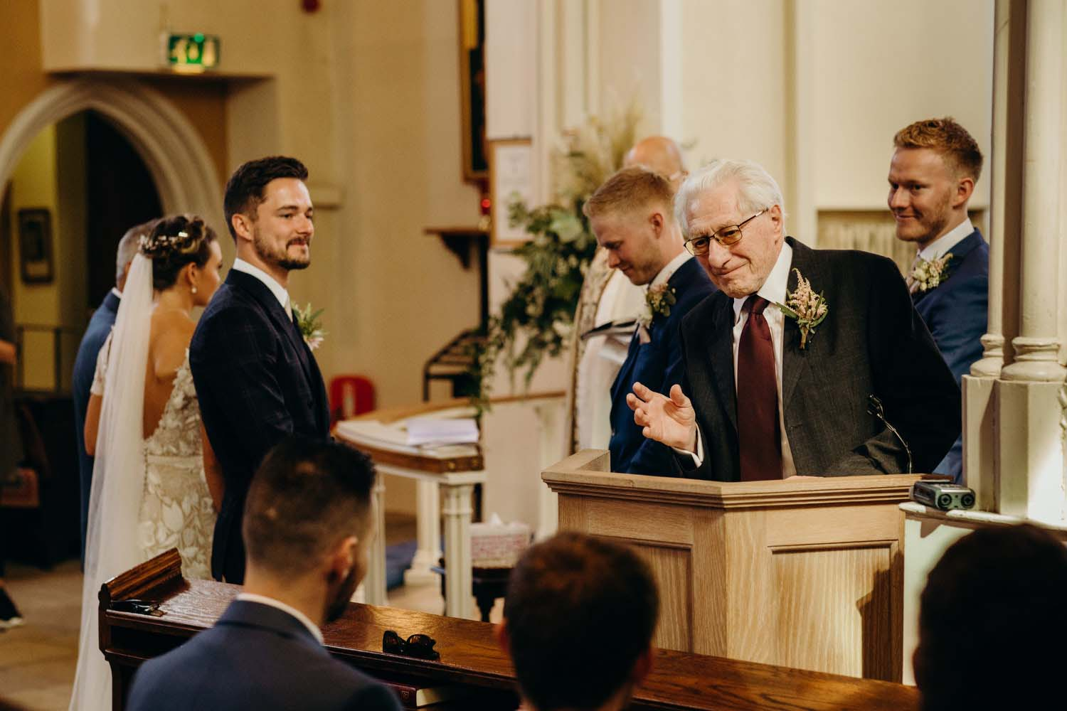 Grandfather of groom does church reading