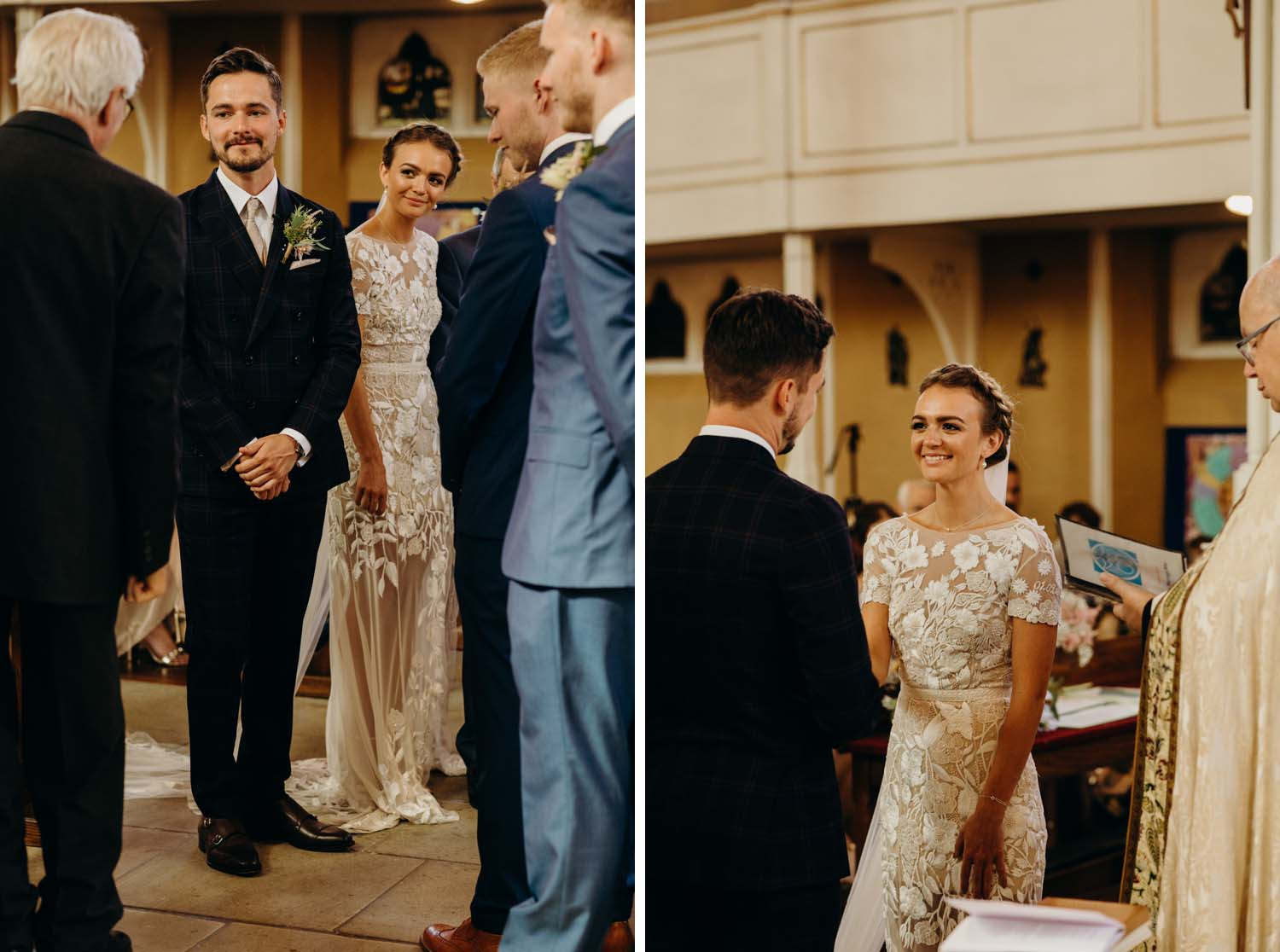 Bride and groom stare at each other