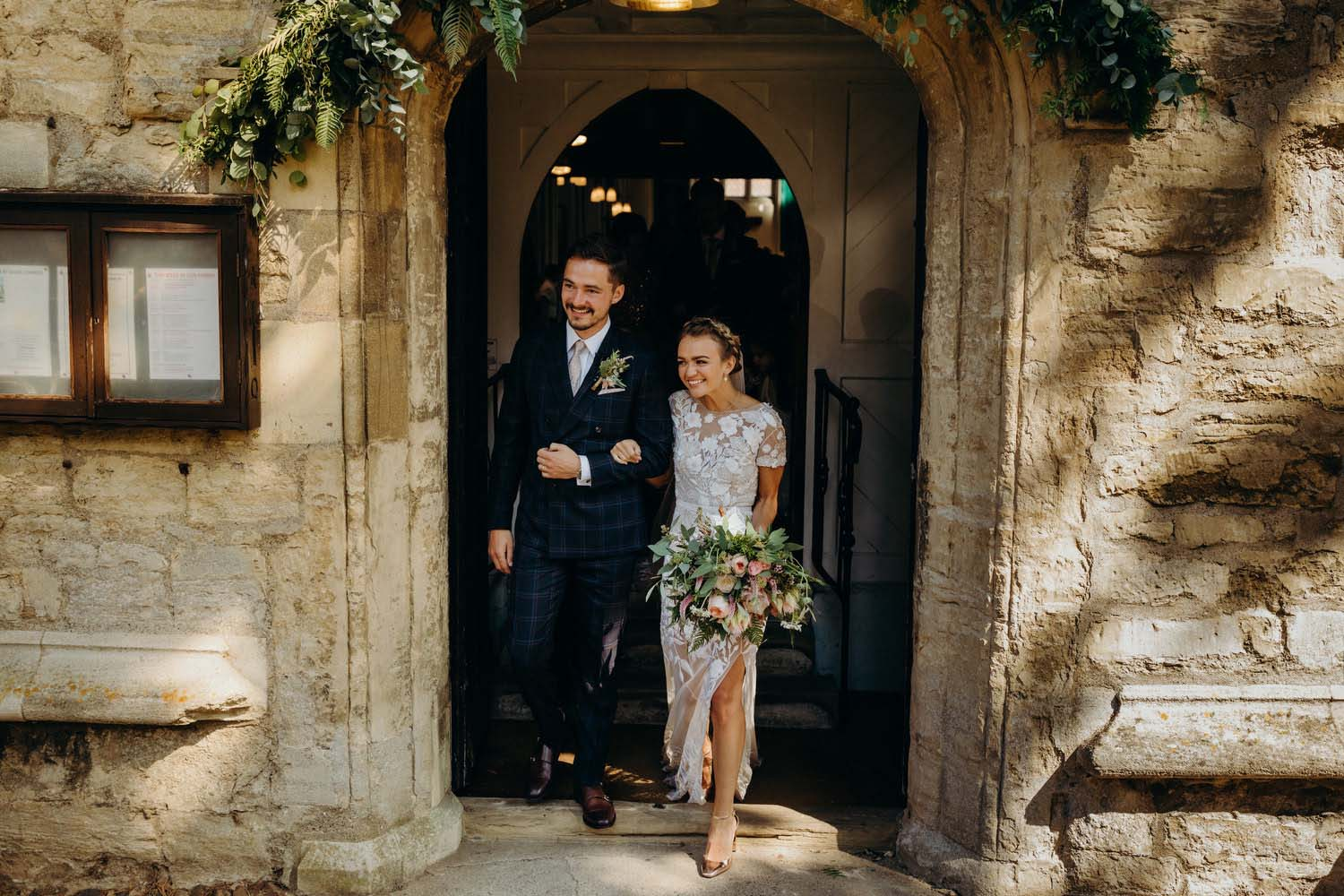 Bride and groom leave Stony Stratford church