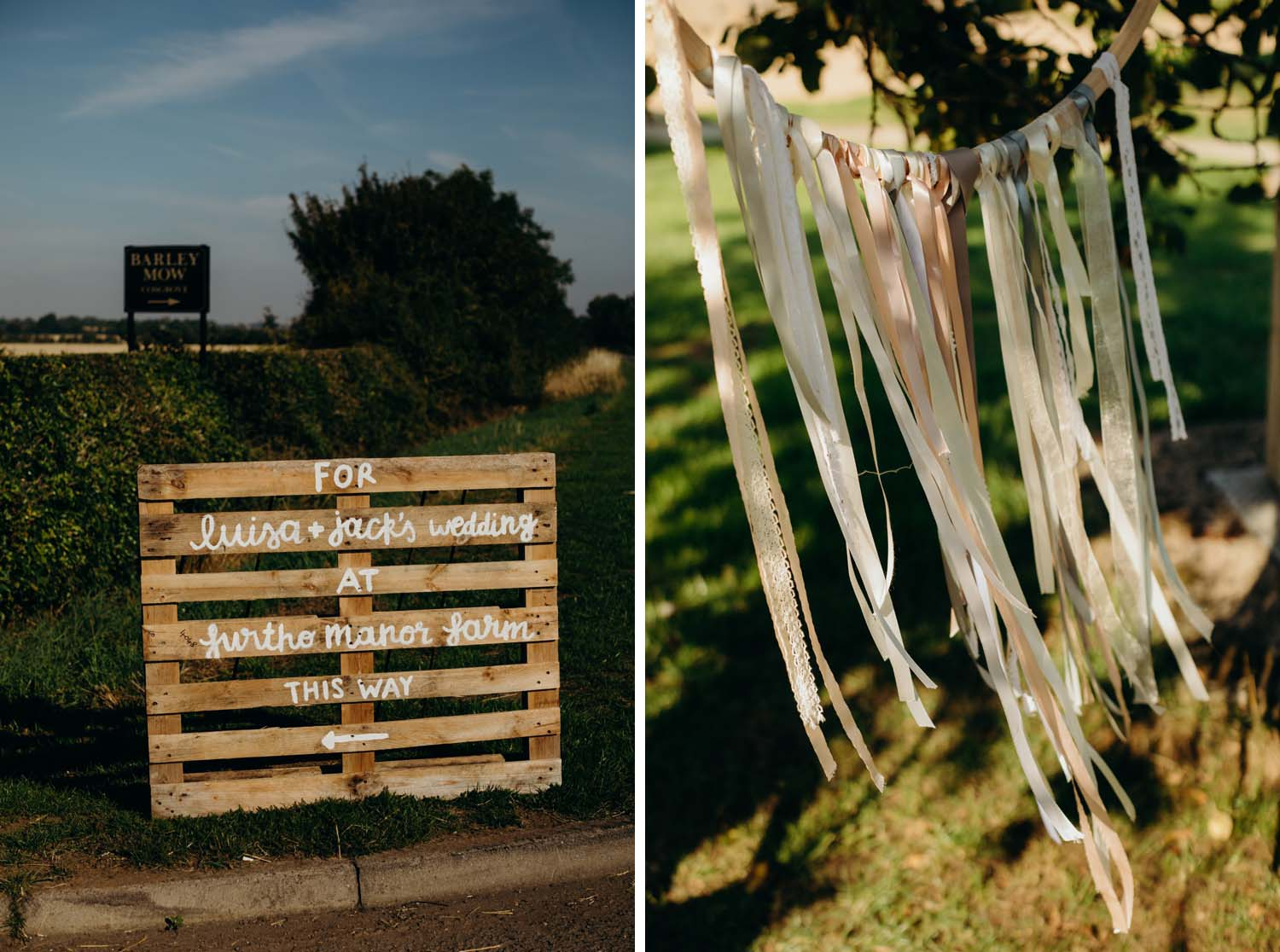 Handmade sign for wedding directions