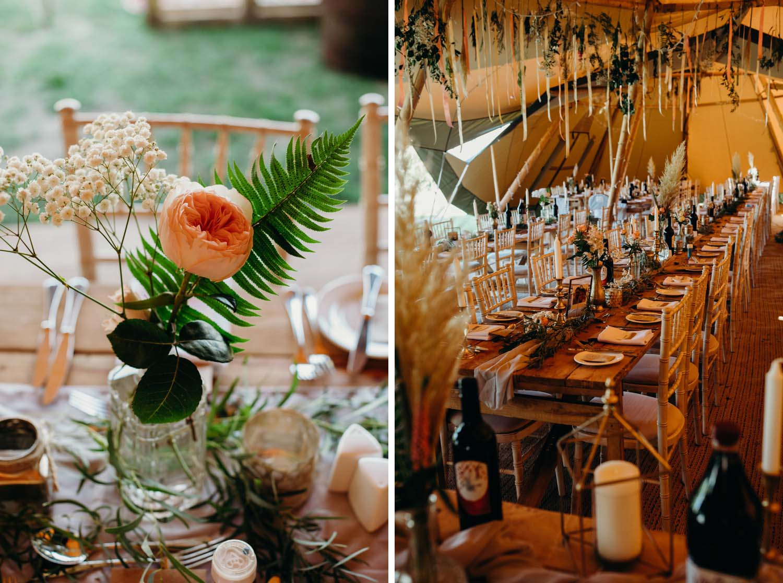 Table flowers at buckinghamshire wedding