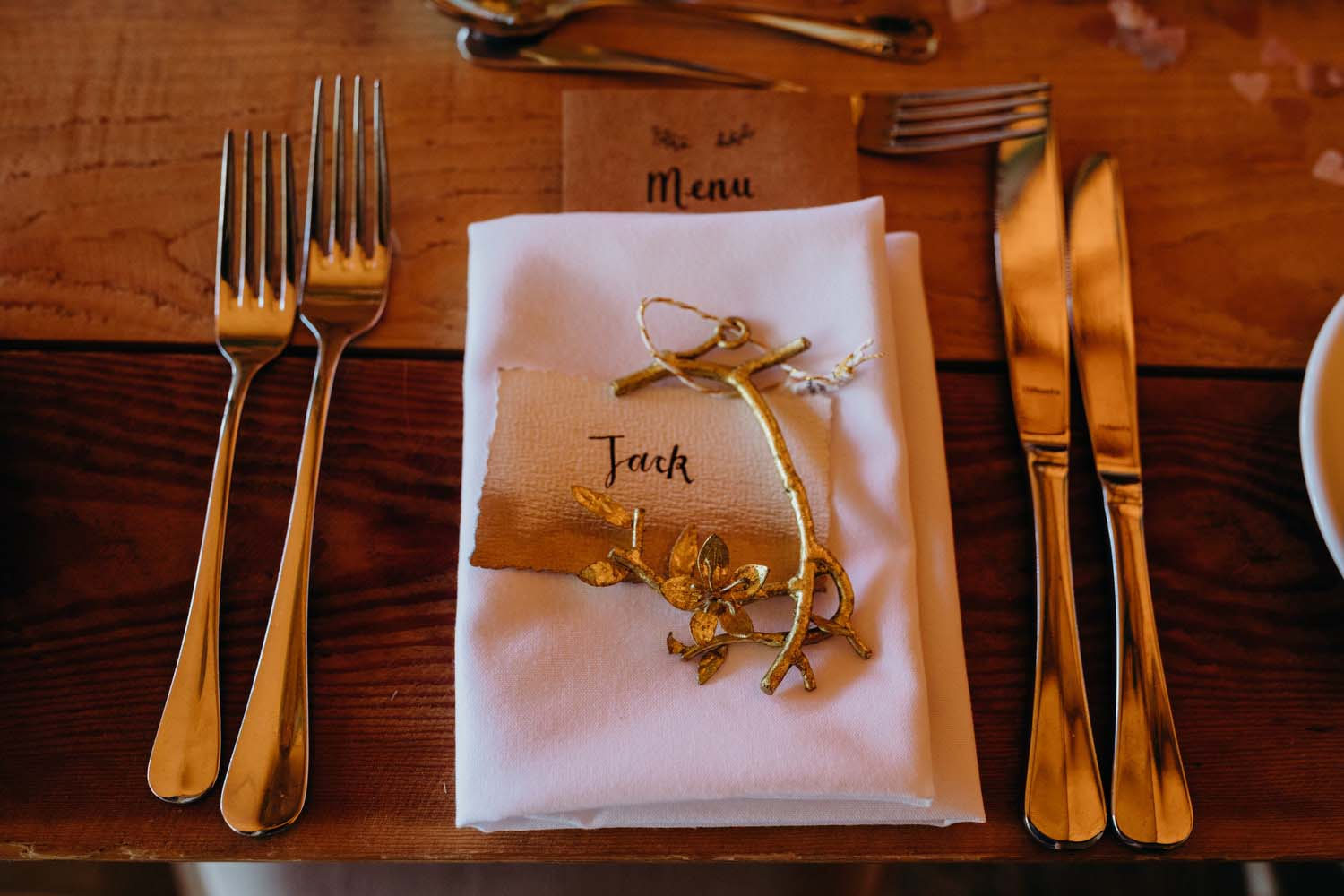 Table decorations at tipi wedding