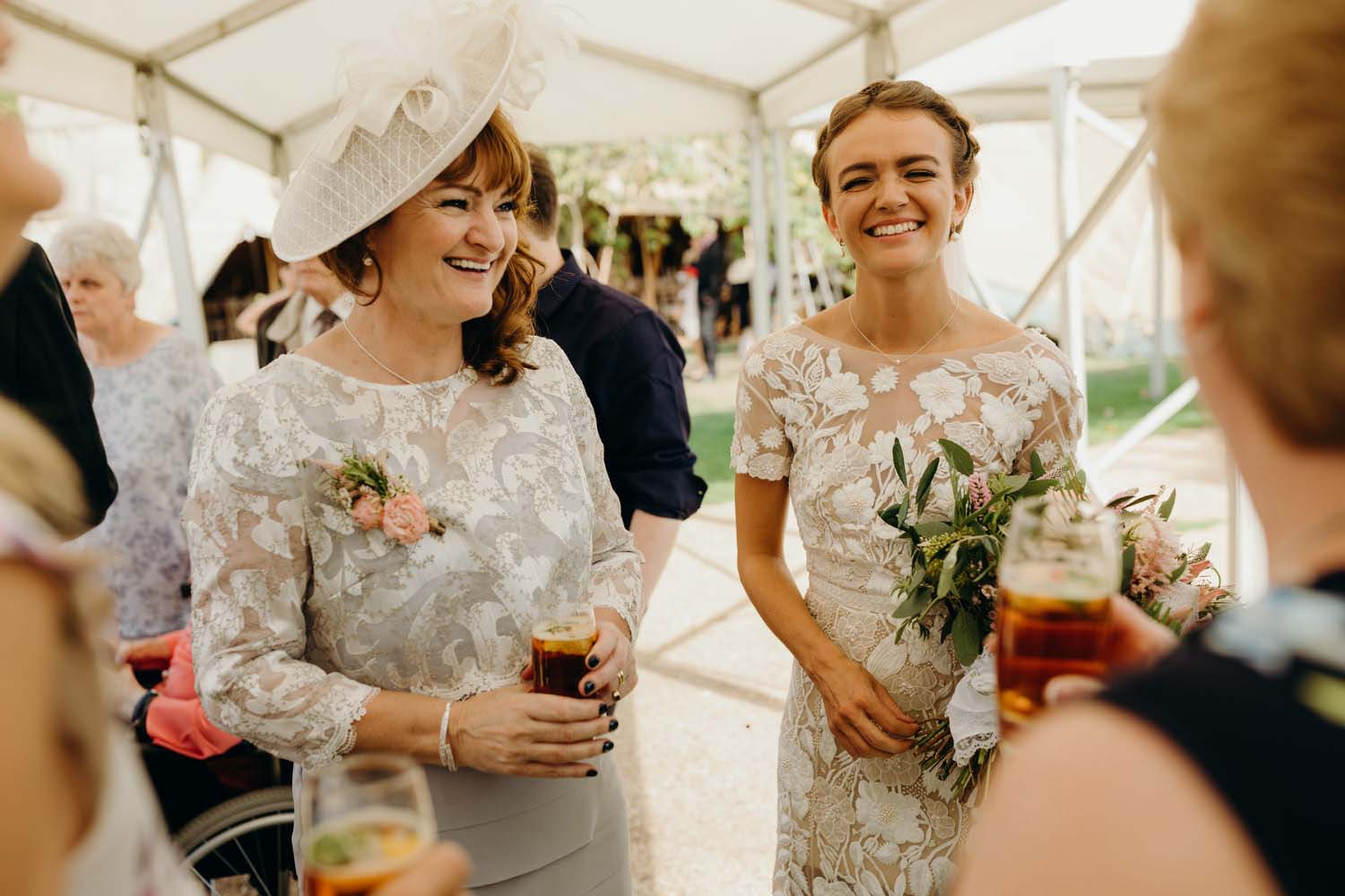 Mother and bride laugh