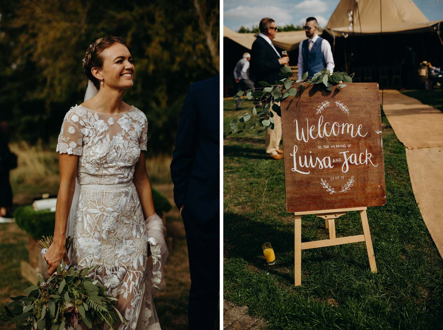 Welcome sign for tipi wedding