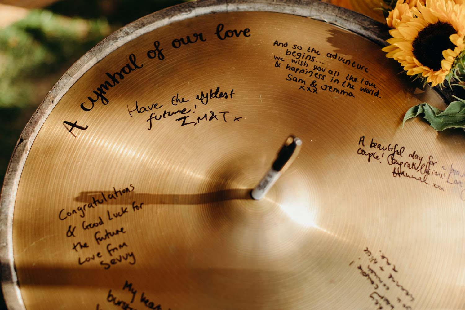 Signed cymbal for wedding