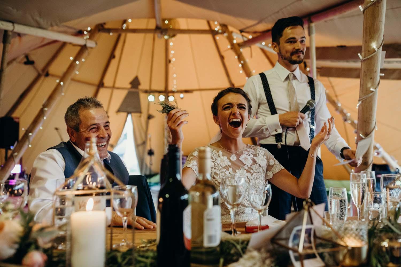 Bride reaction to groom speech