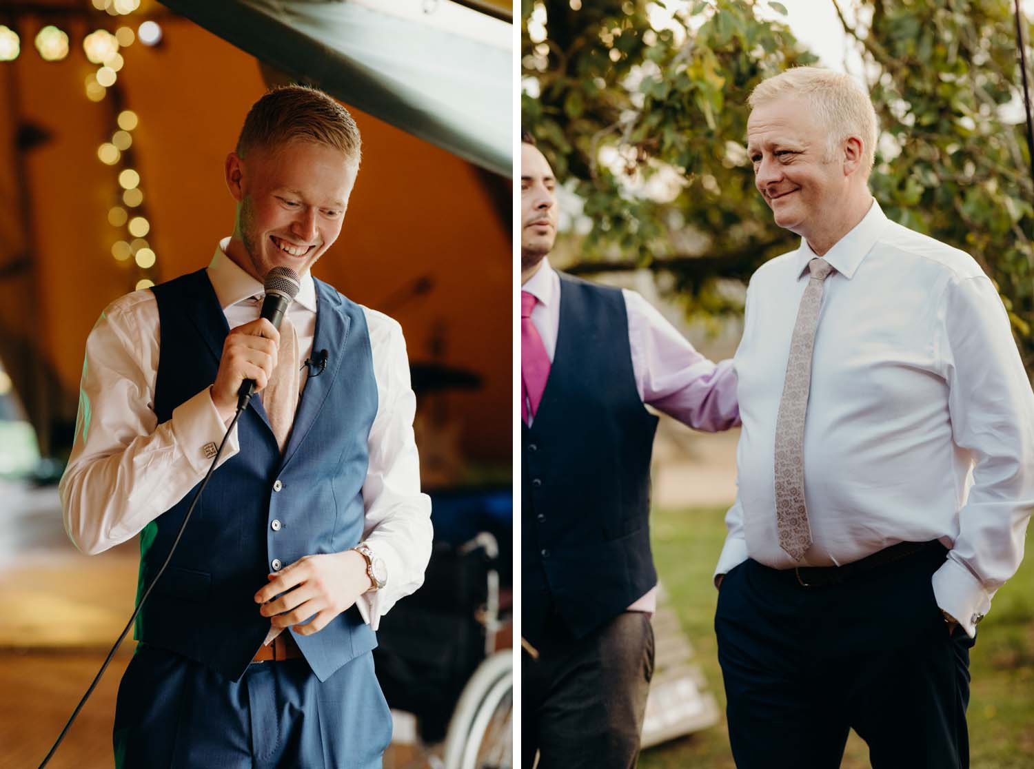Best man Speech with father looking