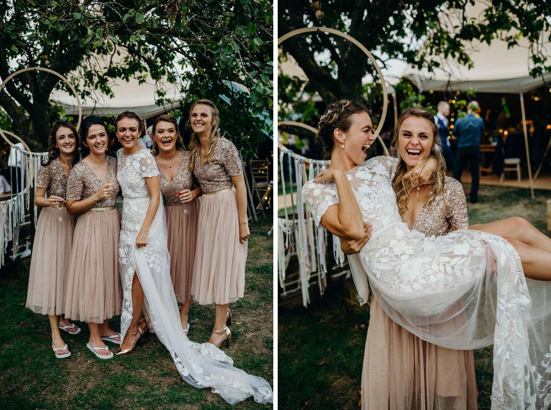 bride bring picked up by bridesmaid