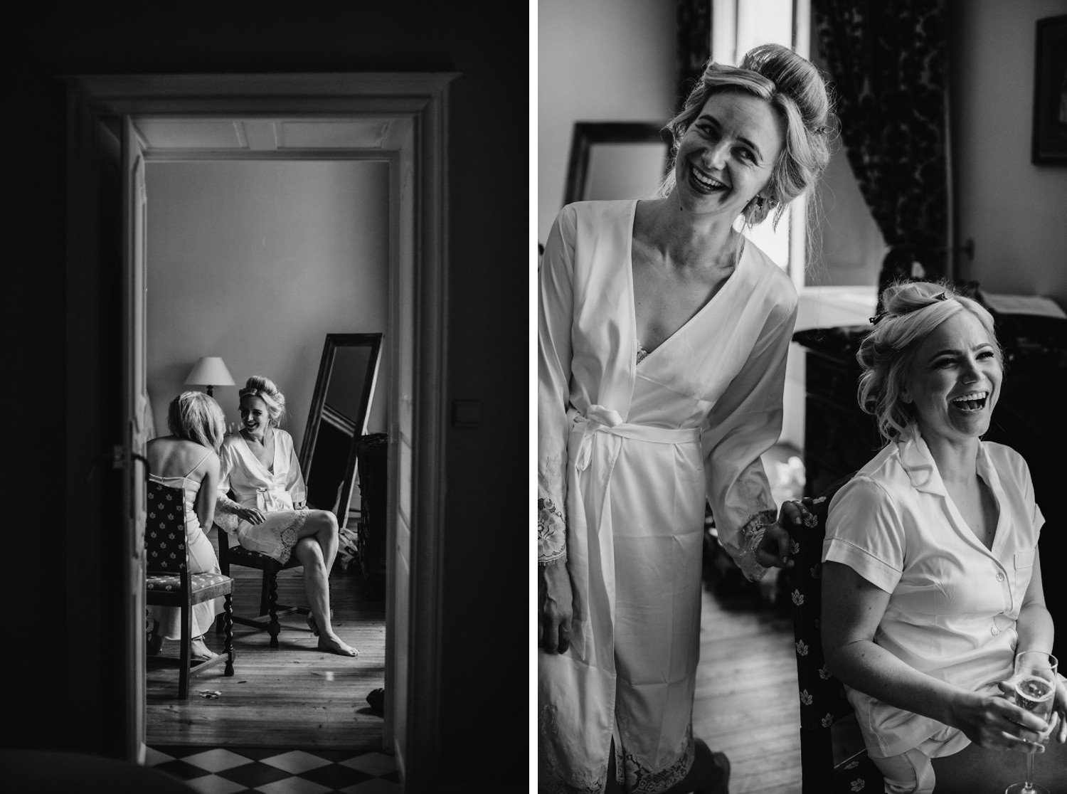 the brides getting ready at Chateau de Lisse
