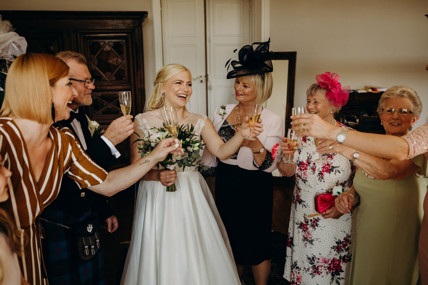 a quick cheers before the ceremony