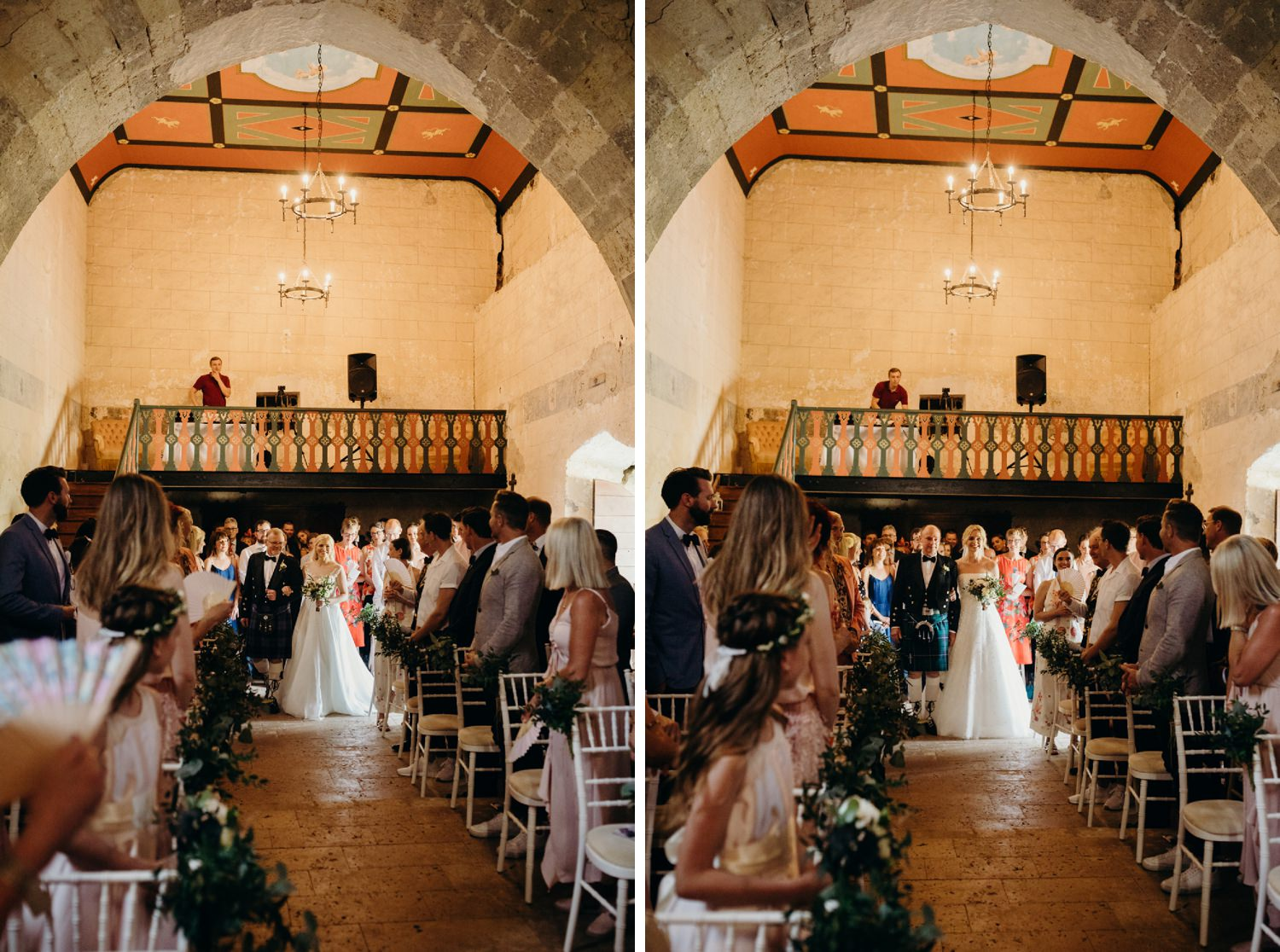 two brides walk down the aisle at french castle