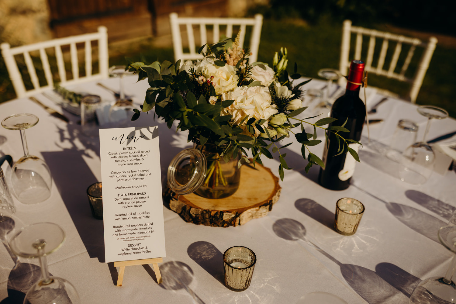 table decorated at french wedding