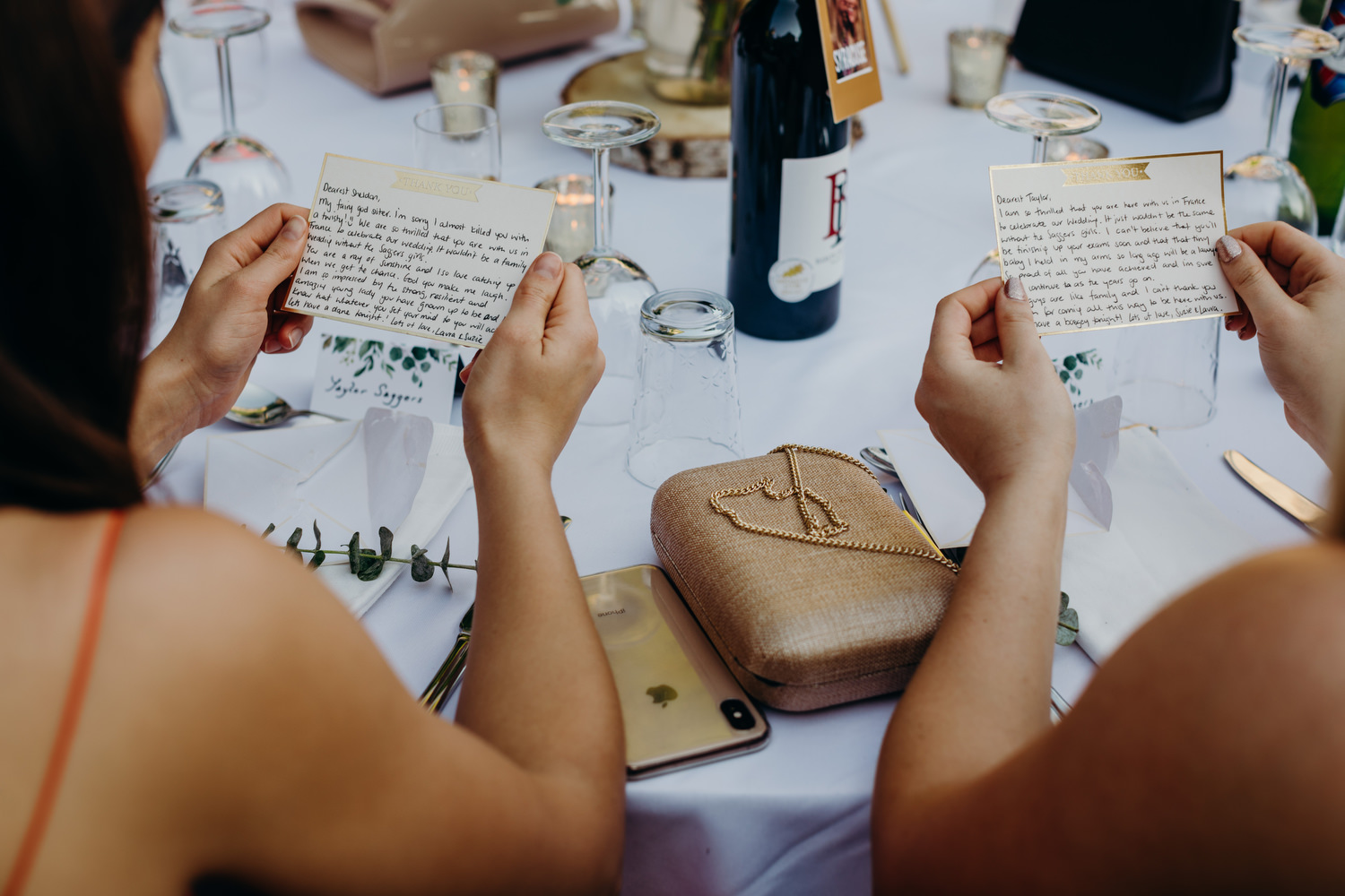 handwritten notes from wedding couple