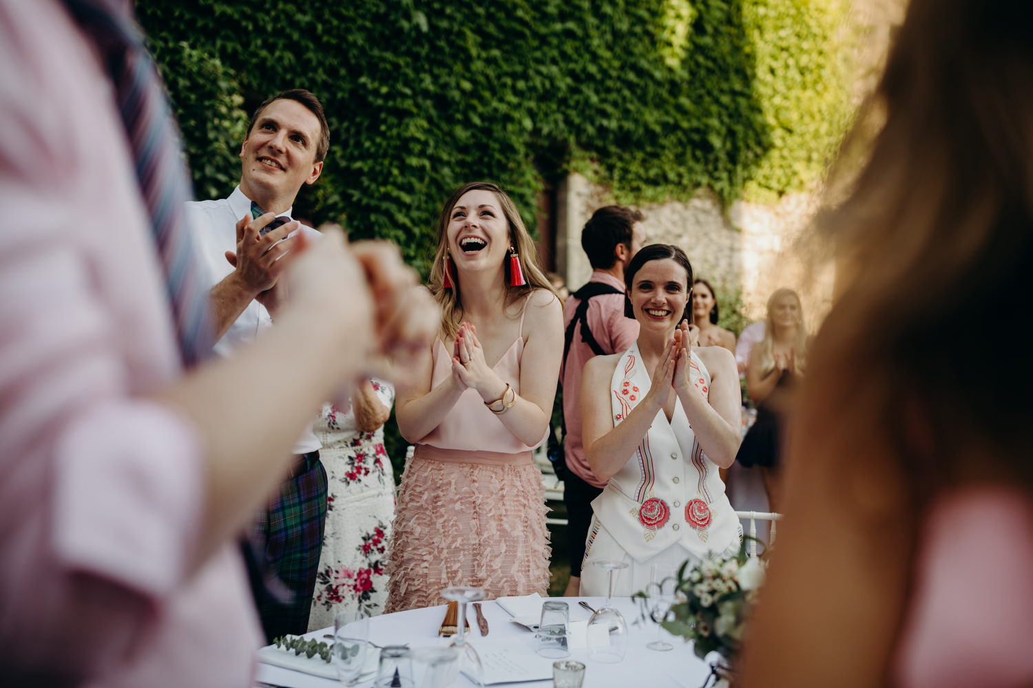 guests clapping at chateau wedding