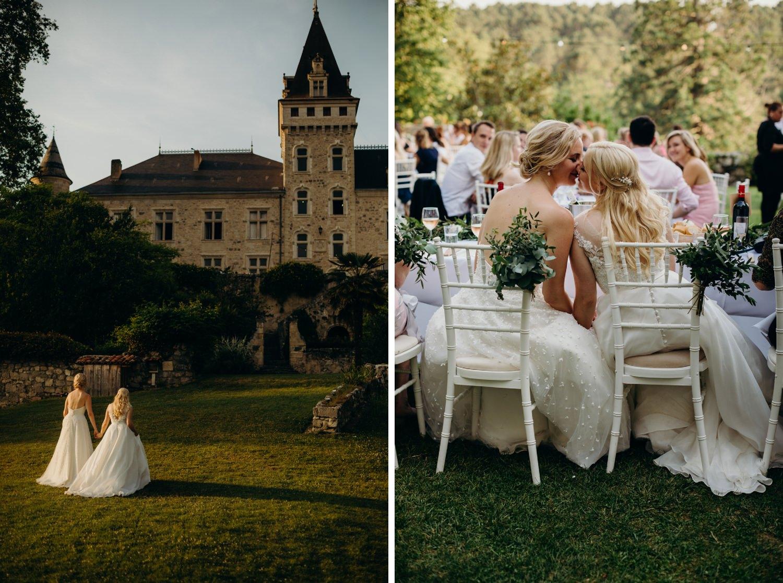 brides kissing at wedding