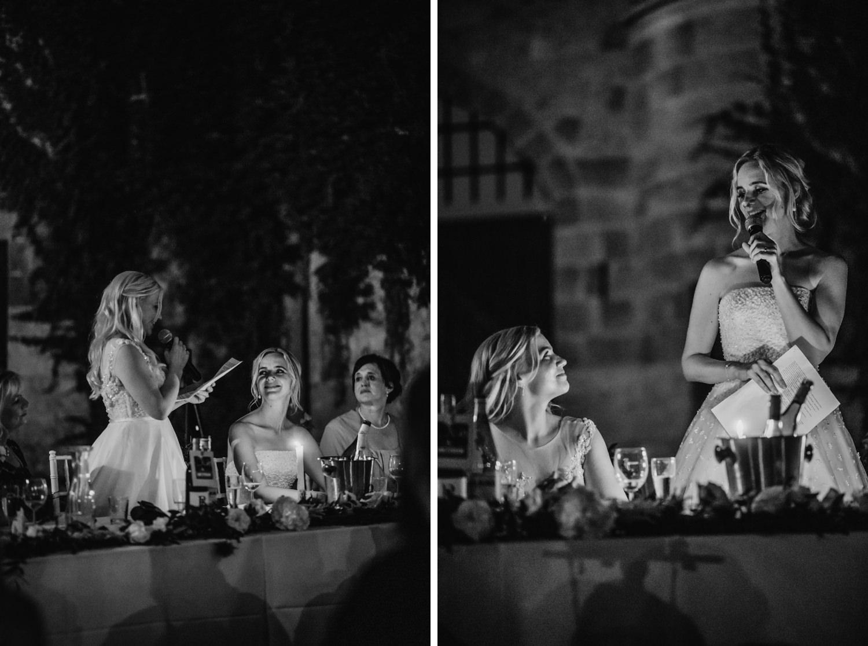 Both brides talking in turns for wedding speech